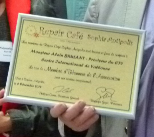 Alain Brulant - Membre d'Honneur du Repair Café Sophia