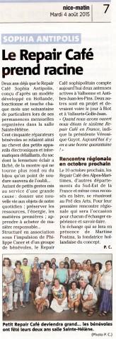 Nice-Matin - Article du 4 août 2015