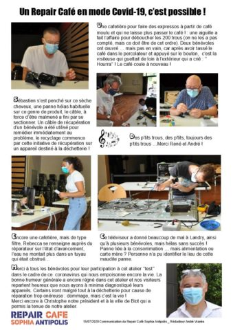 Biot Repair Café 27 juin 2020 et Covid-19 P2