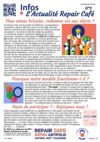 2020 09 Info L'Actualité du Repair Café n°2