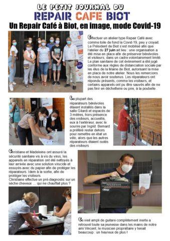 Biot Repair Café 27 juin 2020 et Covid-19 P1